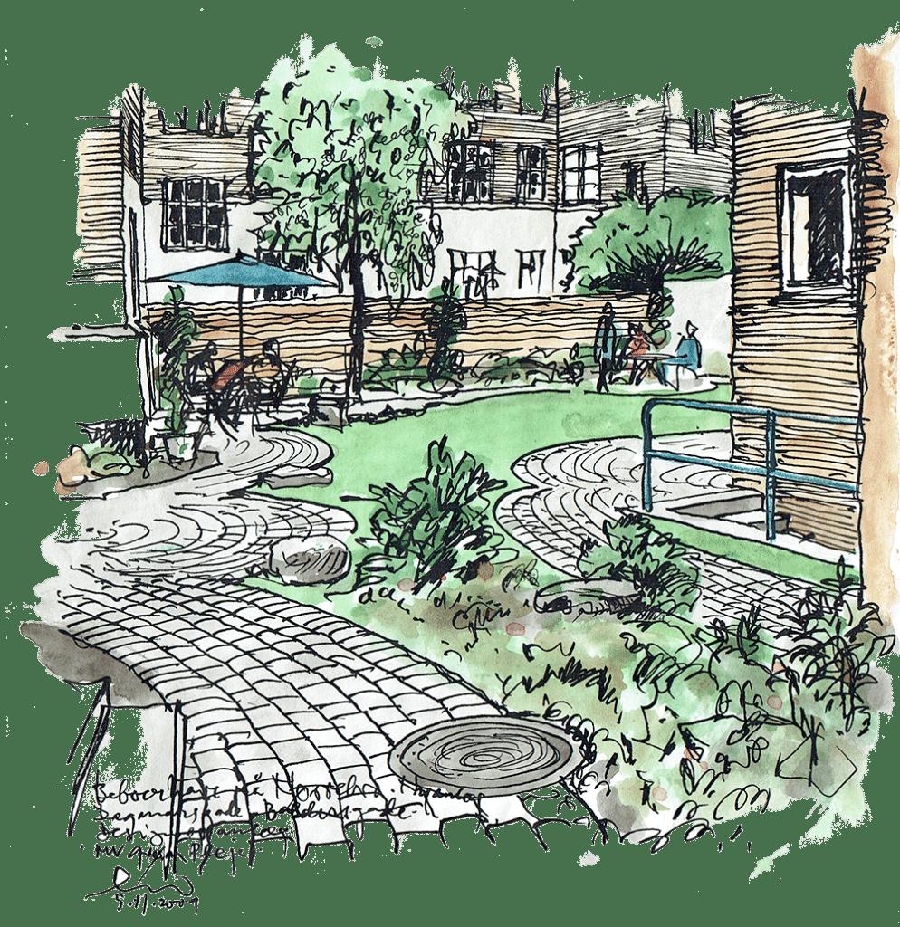 Sketch af have, terrasse og grønne områder